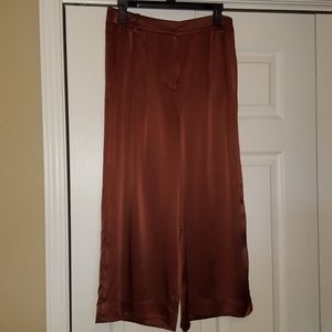 Tibi copper silk cropped pants with pockets